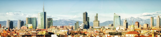 Milano (Italy), skyline panoramic collage. (High res Royalty Free Stock Image