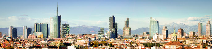 Milano (Italy), skyline panoramic collage (High res) Royalty Free Stock Images