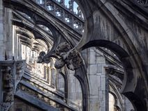 Milano, Italy. The spires of white marble that adorn the entire cathedral. The Duomo is the most famous landmark in Milan. And in Italy royalty free stock images