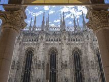 Milano, Italy. The spires of white marble that adorn the entire cathedral. The Duomo is the most famous landmark in Milan. And in Italy stock photos