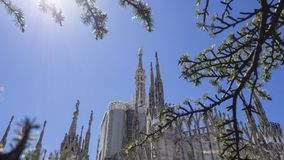 Milano, Italy. The spires of white marble that adorn the entire cathedral. The Duomo is the most famous landmark in Milan. Amazing view stock image