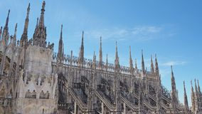 Milano, Italy. The spires of white marble that adorn the entire cathedral. The Duomo is the most famous landmark in Milan. Amazing view stock photos