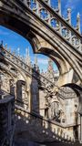 Milano, Italy. The spires of white marble that adorn the entire cathedral. The Duomo is the most famous landmark in Milan. And one in Italy royalty free stock photos