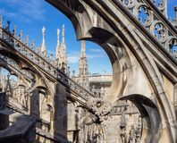 Milano, Italy. The spires of white marble that adorn the entire cathedral. The Duomo is the most famous landmark in Milan. And one in Italy royalty free stock image