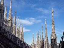 Milano, Italy. The spires of white marble that adorn the entire cathedral. The Duomo is the most famous landmark in Milan. And one in Italy stock photography