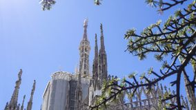 Milano, Italy. The spires of white marble that adorn the entire cathedral. The Duomo is the most famous landmark in Milan. And in Italy stock photo