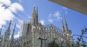 Milano, Italy. The spires of white marble that adorn the entire cathedral. The Duomo is the most famous landmark in Milan. Amazing view royalty free stock photography