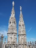 Milano, Italy. The spires of white marble that adorn the entire cathedral. The Duomo is the most famous landmark in Milan. And one in Italy royalty free stock images