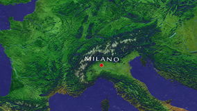 Milano - Italy Zoom In From Space