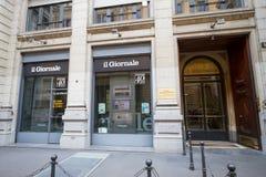 Milano: La facciata del giornale acquartiera l'IL Giornale Immagine Stock Libera da Diritti