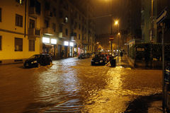 Milano lo straripamento di Seveso del fiume Immagini Stock Libere da Diritti