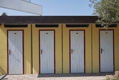Beach club changing rooms Stock Photo