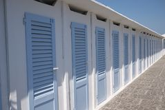 Beach club changing rooms. Milano Marittima, Italy - July 23, 2017: Beach club changing rooms in Milano Marittima Royalty Free Stock Images