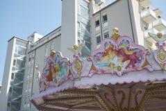 View of a carousel. Milano Marittima, Italy - July 30, 2017: Carousel in Milano Marittima during summertime Stock Photos