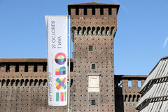 Milano,milan castello sforzesco expo official flag Stock Photo