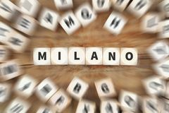 Milano Milan city town travel traveling dice business concept. Idea Stock Photo