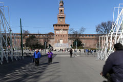 Milano,milan expogate and castello sforzesco Royalty Free Stock Photography