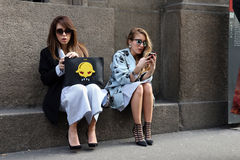 Milano,milan fashion week streetstyle autumn winter 2015 2016 Stock Images