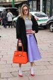silvia torassa Milano,milan fashion week streetstyle autumn winter 2015 2016 Royalty Free Stock Image