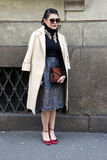 Milano,milan fashion week streetstyle autumn winter 2015 2016 Stock Photos