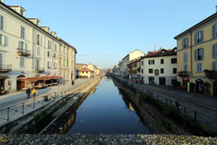 Milano, Milano, il Naviglio grande Fotografie Stock Libere da Diritti