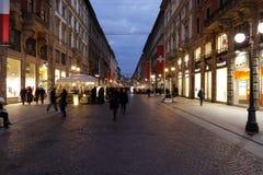 Milano, Milano, sera sopra via dante Fotografia Stock Libera da Diritti