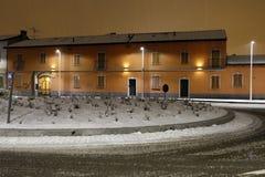 Milano, Milano, una notte sotto la neve Fotografia Stock Libera da Diritti