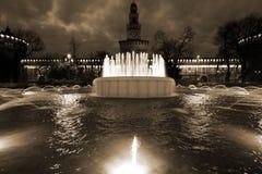 Milano, Milano, vista quadrata del castello Fotografia Stock Libera da Diritti