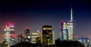 Milano nocy linia horyzontu Zdjęcie Stock
