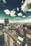 Milano, panoramic skyline with clear sky and italian Alps Royalty Free Stock Photography