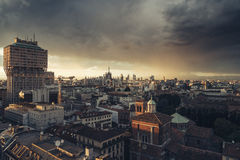 Milano, 2016 panoramic skyline with Italian Alps on Background Royalty Free Stock Photos
