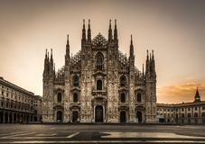 Milano piazza duomo cathedral front view at night. No people royalty free stock photography