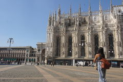Milano`s Dome side and people. Taking photos Royalty Free Stock Photos