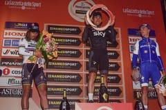 Milano-Sanremo 2017. Poland`s Michal Kwiatkowski Team Sky won the Milan-San Remo NamedSport before Classical Monument of the season, ahead of Peter Sagan Bora Stock Photography