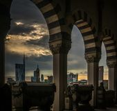 Milano skyline view in a cloudy day with epic sky. From the monumental cemetery stock photos