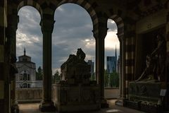 Milano skyline view in a cloudy day with epic sky. From the monumental cemetery stock photo