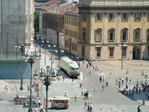 Milano - square. Duomo square in milan with old train royalty free stock images
