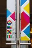 Milano: una bandiera di Exfo 2015 Immagine Stock Libera da Diritti