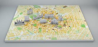 Milano, vista satellite, mappa e monumenti estratti a mano Fotografia Stock Libera da Diritti