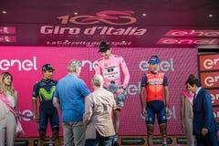 Milano, Włochy Maj 28, 2017: Definitywny podium wycieczka turysyczna Włochy 2017 po 21 dnia rasa Zdjęcia Stock