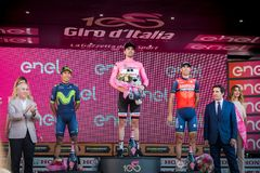 Milano, Włochy Maj 28, 2017: Definitywny podium wycieczka turysyczna Włochy 2017 po 21 dnia rasa Obraz Stock