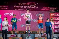 Milano, Włochy Maj 28, 2017: Definitywny podium wycieczka turysyczna Włochy 2017 po 21 dnia rasa Fotografia Stock