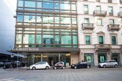 Milano: Windows e segni di Deutsche Bank, Italia Fotografia Stock Libera da Diritti
