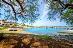 Milatos,克利特传统摄影沿海渔村  库存照片