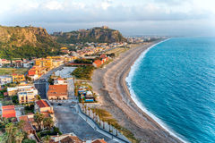 Milazzo beach. The West beach of Milazzo, Sicily, Italy royalty free stock photo