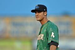 2014 MiLB - difesa dell'infield di baseball Fotografia Stock
