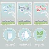 Milch, Aufkleber, Verpackungsgestaltung des Hintergrundes Lizenzfreie Stockfotos