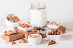 Milch des strengen Vegetariers von den Nüssen im Glasgefäß Lizenzfreies Stockbild
