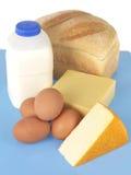 Milch-Eier und Brot Stockfotografie