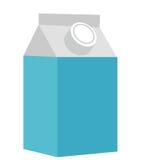 Milch in einer flachen Art der Kastenikone Getrennt auf weißem Hintergrund Auch im corel abgehobenen Betrag Lizenzfreie Stockfotografie